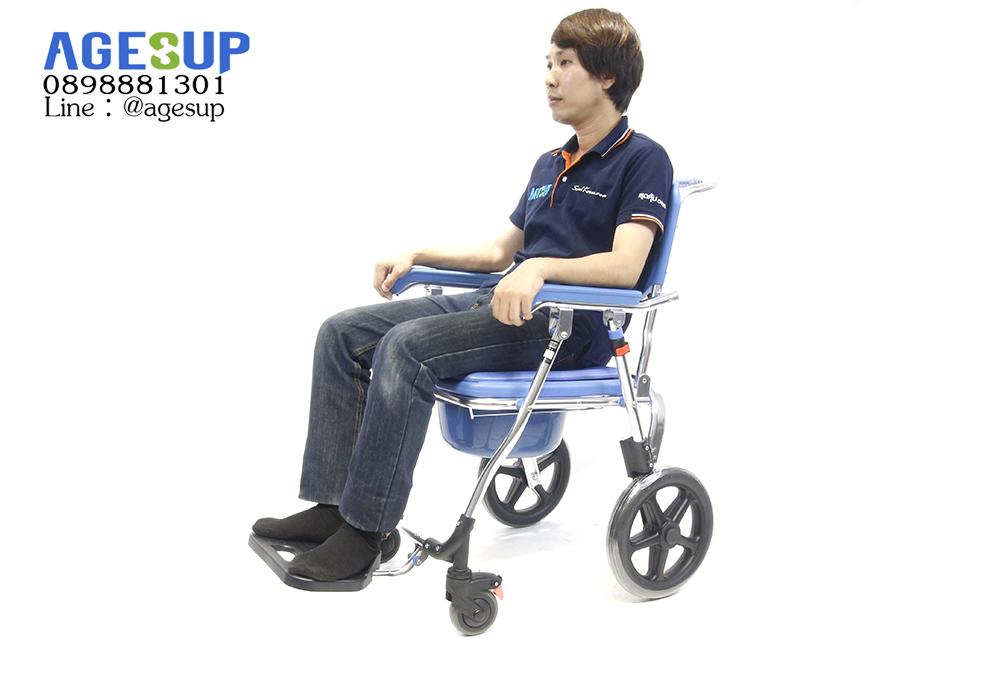 เก้าอี้นั่งถ่าย แบบมีล้อ รถเข็นนั่งถ่าย พับได้ เอนกประสงค์ รุ่น All Blue (ออล บลู)